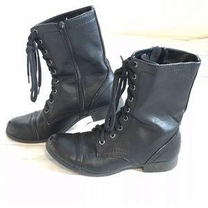 Black women's Combat Moto boot 8 SODA